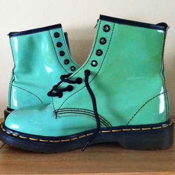 mint green patent leather dr marten air from onesmartcooki on