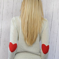 Heart Elbow Patch Sweater I Wear My Heart on My Sleeve Sweater with RED Felt Heart Patches SMALL