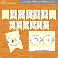 Printable PDF Wall Banner - Mommy to bee, Bee Baby Shower Invitation, Bumblebee, yellow and black