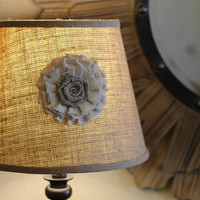 Shabby Chic Burlap Lamp Shade - Rustic Home Decor