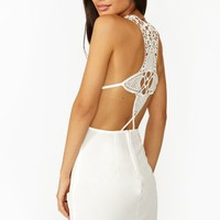 Sunburst Crochet Dress - White