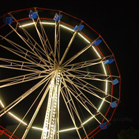 "Dark Carnival Art - Large 20 x 20 inch Photograph - ""Midnight Ferris Wheel"""