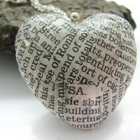 Newspaper Heart Necklace Decoupaged Black by EsmeDodsworthDesign
