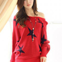 Red Stars Prints Ladies Sweaters : Wholesaleclothing4u.com