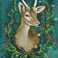 "Deer with Flowers - 8 1/2 x 11"" Print"