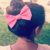 BIG Light pink hair bow by colordrop on Etsy