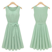 Womens Fashion Chiffon Pleated Mint Green Sleeveless Dress US Size 4 6 8