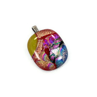Dichroic Glass Pendant - Red Orange Yellow Blue - InVintageHeaven