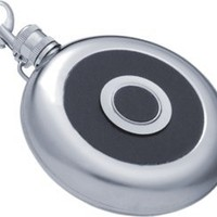 "Visol ""Bullseye"" 8oz Flask with Built-In Shot Cup and Belt Key Holder"