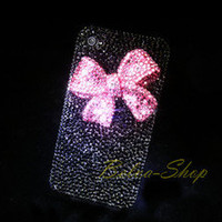Bling Crystal 3D Pink Bow Black For iPhone 5 Case using Swarovski Elements