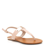 metal-plate-t-strap-sandals NUDE ORANGE - GoJane.com