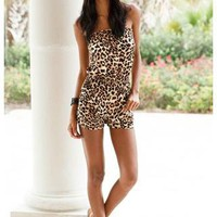ANIMAL PRINT STRAPLESS SMOCKED ROMPER