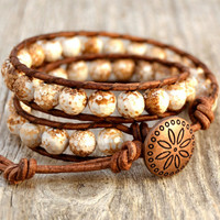 Rustic beaded boho bracelet. Chunky earthy brown and white leather wrap