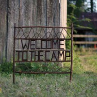 welcome to the camp twig yard sign
