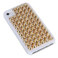Fashion Shiny Full Rivet Handmade Hard Case For Iphone 4/4s-white