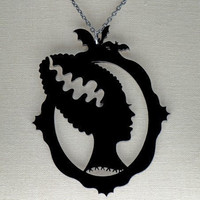 $20.00 Bride of Frankenstein Silhouette Necklace  Black by CABfayre