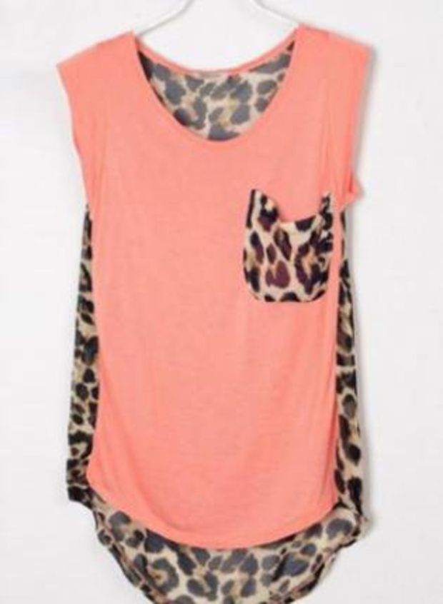 Leopard Patchwork High-low Sleeveless Pink Blouse S012