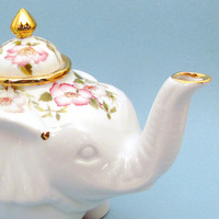 Shabby chic elephant teapot with pink and white