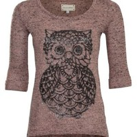 New Look Mobile | Coral Flecked Owl Print Knitted Jumper