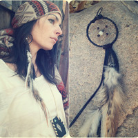 wanderer ... single dreamcatcher feather earring