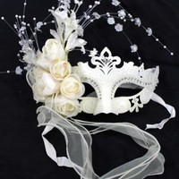 RedSkyTrader - White Venetian Masquerade Ball Mask with Sparkled Designs and Roses - One Size fits