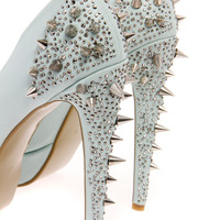 Boutique Kate Mint Stud & Diamante Platform Heels