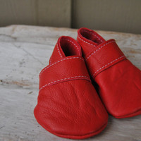 Leather BootiesRuby Red Newborn by loveineverything on Etsy