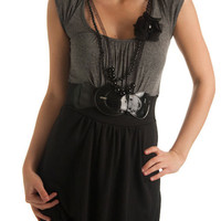 Rainbow-9202-Gray-Blk Belted Knit Cocktail Mini Dress w/ Necklace