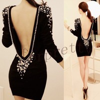 Women Sexy Embellished Plastic Pearls Beaded Backless V-back Short Dress