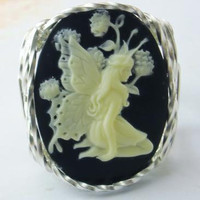 R540 Butterfly Fairy Cameo Ring Sterling Silver