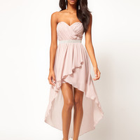 Lipsy Dip Hem Dress With Jewelled Waistband