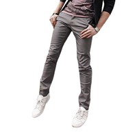 Allegra K Mens Casual Button Down Slim Fitted Straight Pants Trousers Medium Gray W30