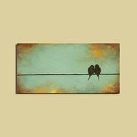 Art Painting Signature Birds on a Wire by ContemporaryEarthArt