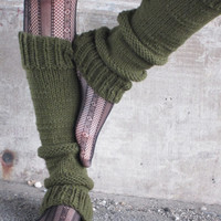 Leg Warmers Knit Leg Warmers Green Leg Warmers by AutumnAndAmber