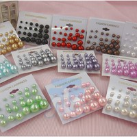 Color Bead Faux Pearl Stud Earrings, Wholesale lot of 144 Pairs, Mix Color and Size