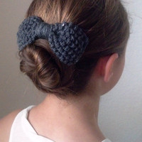 Knit sequined bow hairclip - Chunky knitted hair clip sequined Bow in CHARCOAL GRAY