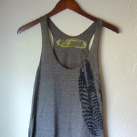 Cocoa and Black Feathers Tri-Blend Racerback Tank Top