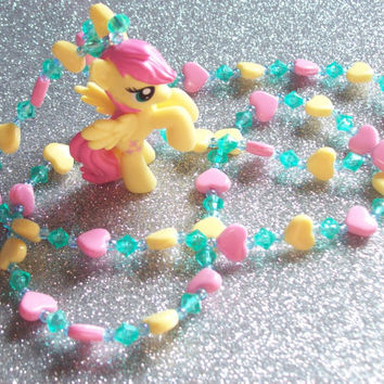 Sweet Fluttershy and Hearts Necklace