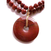 Red Jasper Stone Beaded Necklace - Rich and Chunky