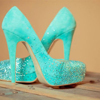Tiffany blue wedding shoes swarovski bridal by AngelesqueStilettos