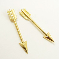 Brass Tribal Arrow Earring Studs Free Shipping by MistyAurora