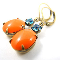 Vintage Tangerine Orange Oval Stone Earrings with by MistyAurora