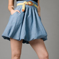 VOOM by Joy Han Denim Tanya Cap Sleeve Dress
