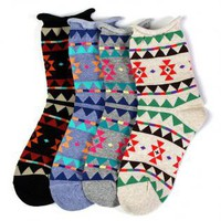 Black Socks with Colorful Aztec Pattern
