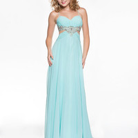 Mint Chiffon &amp; Rhinestone Empire Waist Open Back Prom Dress - Unique Vintage - Cocktail, Pinup, Holiday &amp; Prom Dresses.