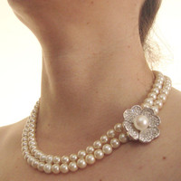 Vintage style pearl necklace rhinestones  by LilaRoseJewel on Etsy