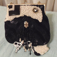 Black n White Purse, Beaded Evening Bag, Formal Affair Clutch, OOAK upcycle vintage purse by Marelle, LAYAWAY PLANS