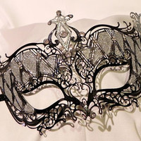 Black and Silver Metallic Masquerade Mask