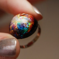 Orion Nebula, Galaxy Ring, Out of this World Fashion Statement Glitter Hubble Image, Modern Resin Dome Cosmic Galaxy Jewelry