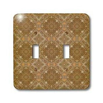 Jaclinart Wood Feeling Antique Gold and Taupe Abstract Geometric Collection - Shades of brown and orange ornate geometric cross and diamond tile pattern - Light Switch Covers - double toggle switch - Amazon.com